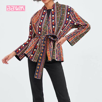 Ethnic style embroidery print decoration V neck jacket was thin Korean version of the wild retro women's jacket 2018