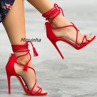 Fancy Fringe Woven Lace Up Thin Heel Sandals Sexy Red PU Leather Cut Out Open Toe