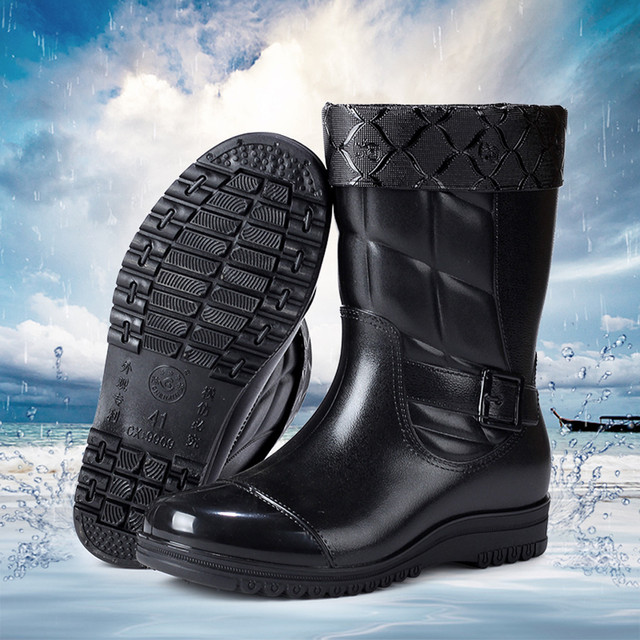 2019 New Arrival Leisure rain boots men Low-Heeled Keep Warm Round Toe Shoe Waterproof Middle Tube Rain Boot Dropshipping#Y35