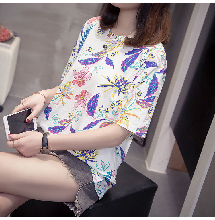 Nkandby Flower Print Summer T-shirt For Woman Fashion Casual Short sleeve Ladies Tshirt 2019 New Bamboo Plus size Basic Tops 4XL 13