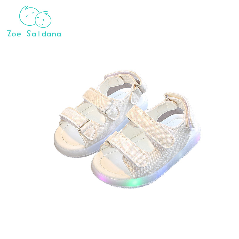 Zoe Saldana 2018 Summer Children Beach Shoes LED light Solid Rubber Hemp Breathable Sandals For Baby Boy/Girl Size 21-30