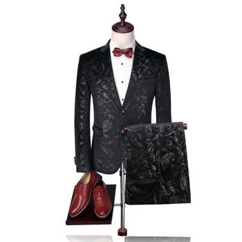 high quality mens dress two piece set Black men suit jacket and pants wedding business  Slim fit men Blazer coat Asia size