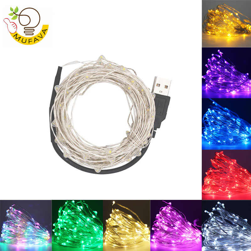 LED String lights 10M 5M 2M srebrny drut Garland Home boże narodzenie Wedding Party Decoration zasilany 5V akumulator USB bajki światła