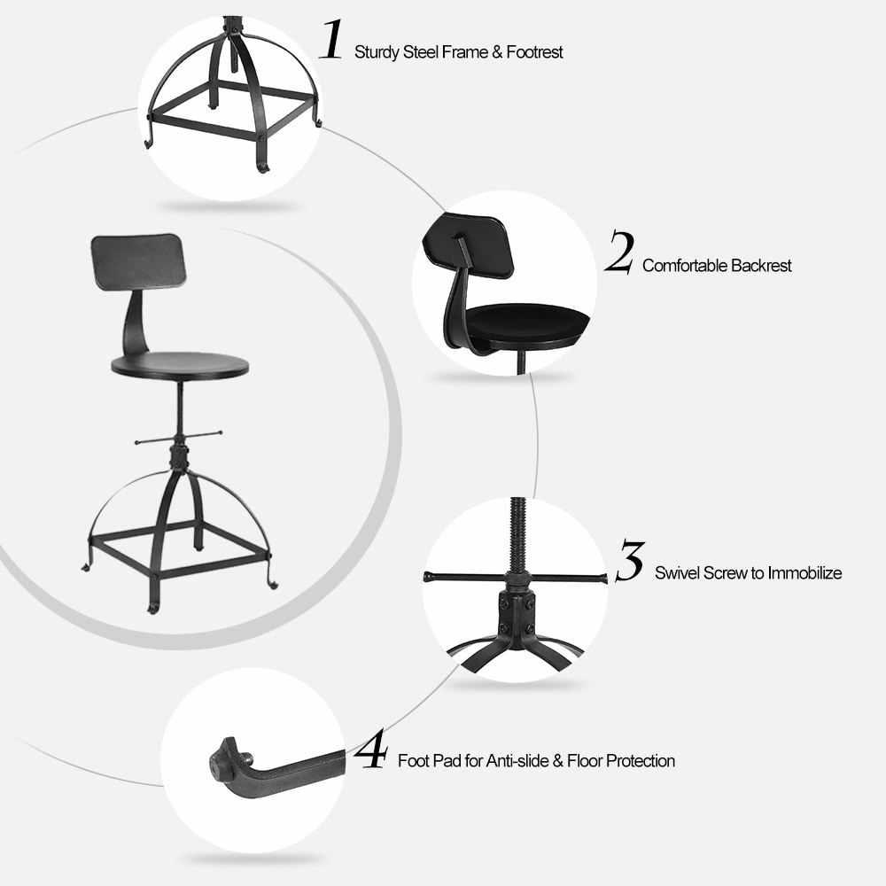 Регулируемый по высоте Поворотный кухонный обеденный стул промышленный стиль металлический барный стул W/Спинка кофейное кресло кафе бар мебель для дома