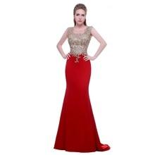 Noble Prom Dresses New Fashion with O-neck Sleeveless Appliques Stone Red Mermaid Formal Evening Dresses Vestido de Feasta