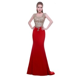 Noble prom dresses new fashion with o neck sleeveless appliques stone red mermaid formal evening dresses.jpg 250x250