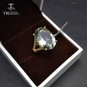 Image 5 - 素敵なブラックフライデー & クリスマスギフトビッグナチュラルグリーンアメジストリングイエローゴールド色 925 シルバー宝石用原石の女の子 tbj