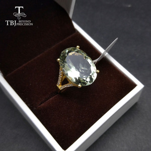 Image 5 - Nice Black Friday & Christmas gift Big natural green amethyst Ring yellow gold color 925 silver gemstone jewelry for girls TBJ
