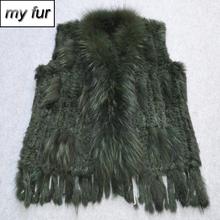 2019 Hot Sale Genuine Real Rabbit Fur Vest Women Handmade Knitted Real Rabbit Fur Gilet Lady Casual Natural Rabbit Fur Waistcoat cheap Real Fur Single Breasted Double-faced Fur REGULAR Striped Sleeveless My fur-032104 Slim doakxol With Raccoon Dog Fur Collar