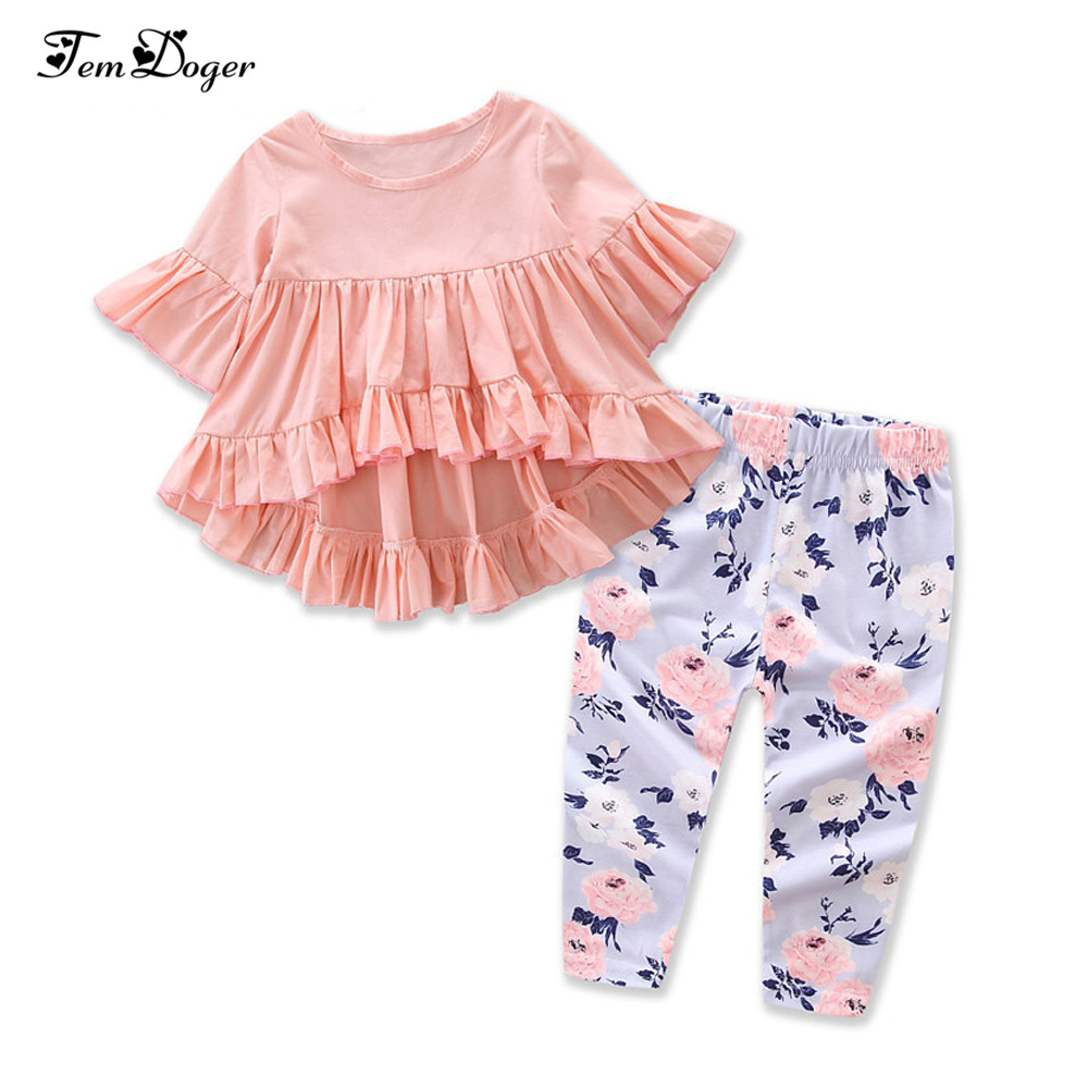 US Newborn Baby Girl Clothes Hooded Tops Ruffle Pants Leggings Outfits Tracksuit