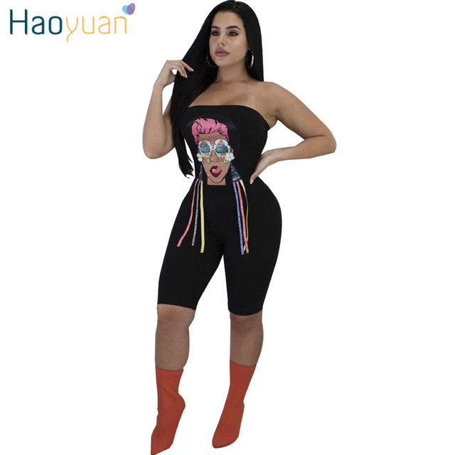 84c80dca9c HAOYUAN Character Print Sexy Playsuit 2019 Summer Overalls Off Shoulder  Clubwear Bodysuit Bodycon Shorts Rompers Womens
