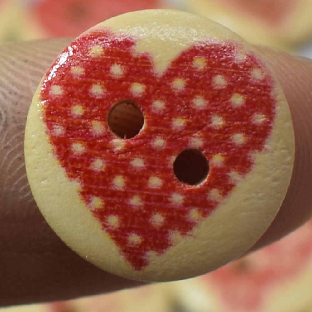 15/20 MM serca drewniane guziki mieszane serce wzór dekoracyjne przyciski 2-otwory do szycia Scrapbooking Craft DIY do szycia akcesoria