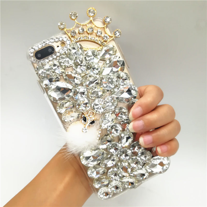 Case For Huawei Honor 8 Lite 9 10 7X  7C 7A Pro Y5 Y6 Y7  Y9 2018 Glitter rhinestone Fox fur ball pom soft Phone case Crown Capa