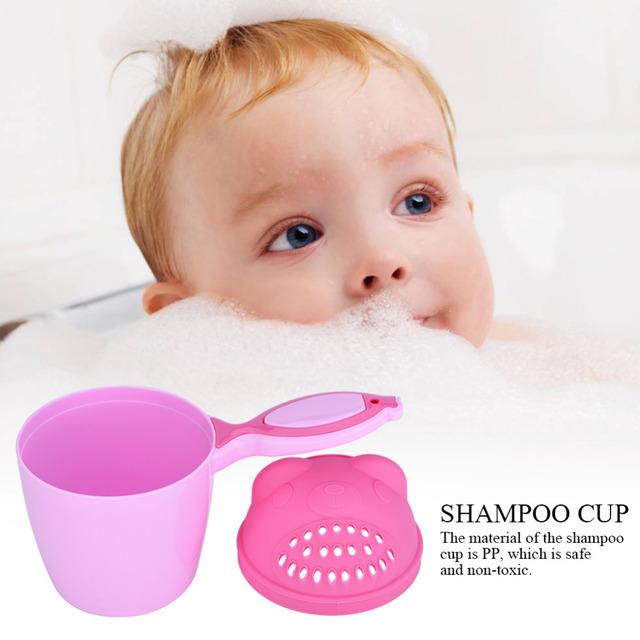 Baby Cartoon Bear Bathing Shower Cup Newborn Baby Shower Shampoo Cup Bailer Baby Shower Water Spoon Bath Wash Cup Flusher