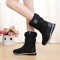 2016 Marca botas de nieve de las mujeres impermeables botas de nieve de copo de nieve de algodón súper calientes zapatos de plataforma de invierno botines de las mujeres