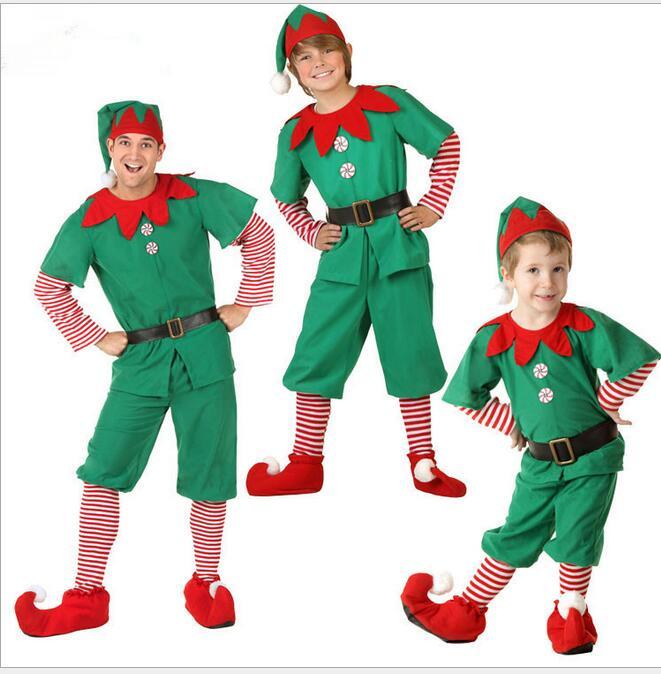 ecowalson Christmas Adult child Prestigious Elves  Halloween Long Sleeve Green Red Girl Dress KIDS Costume stocking