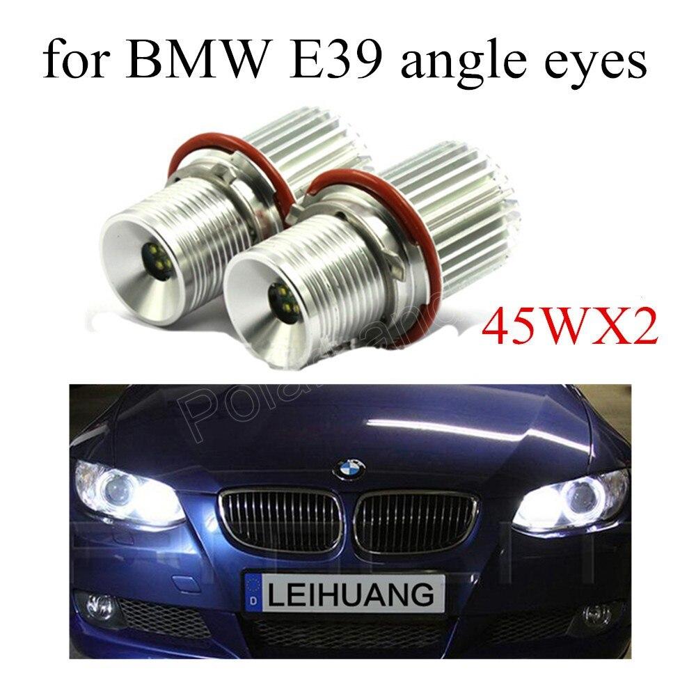 hot 1 pair 2x45W White LED Angle Eye Halo Ring Marker Light Bulb for BMW E39 E53 E60 E61 E63 E64 E65 E66 E87