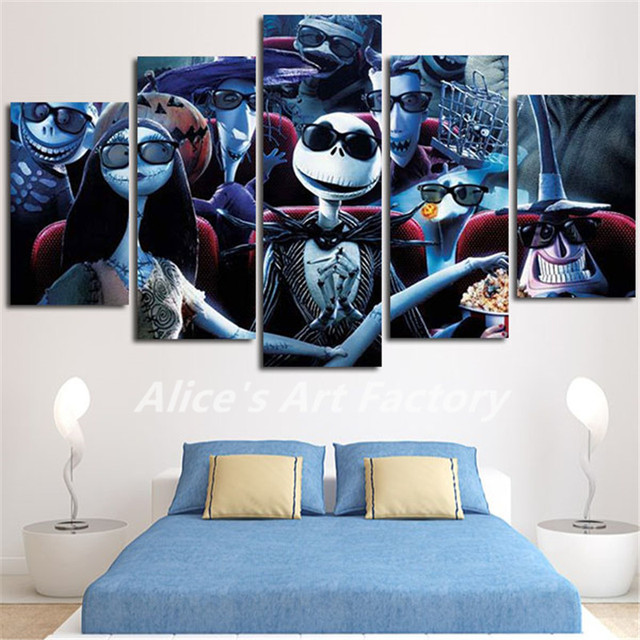 5Piece Wall Art Calligraphy Nightmare Before Christmas Painting Canvas Picture For Living Room Prints Movie Posters & 5Piece Wall Art Calligraphy Nightmare Before Christmas Painting ...