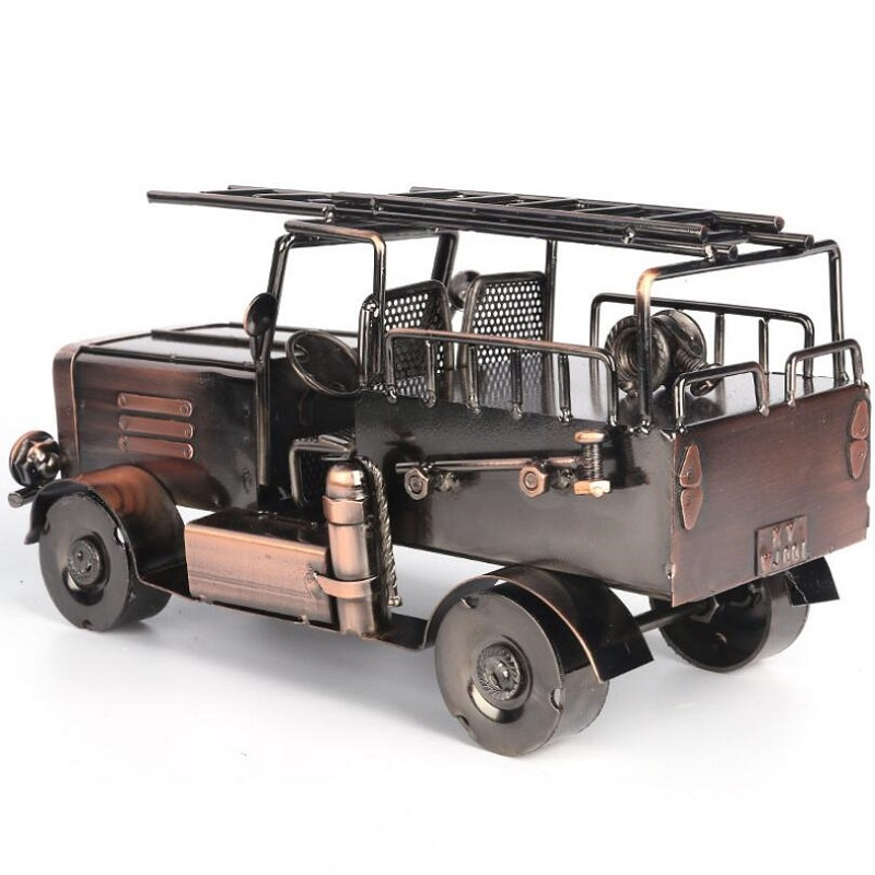 Fire truck model iron crafts wine cabinet decorations fire engine