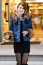 Free shipping Real Nature Rabbit Fur Jacket with Raccoon collar women fashion genuine fur coat winter fur coat big size 4xl