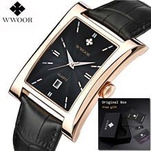 Мужские квадратные наручные часы, модные светящиеся наручные часы из натуральной кожи, люксовый бренд, водонепроницаемые часы, новинка 2019