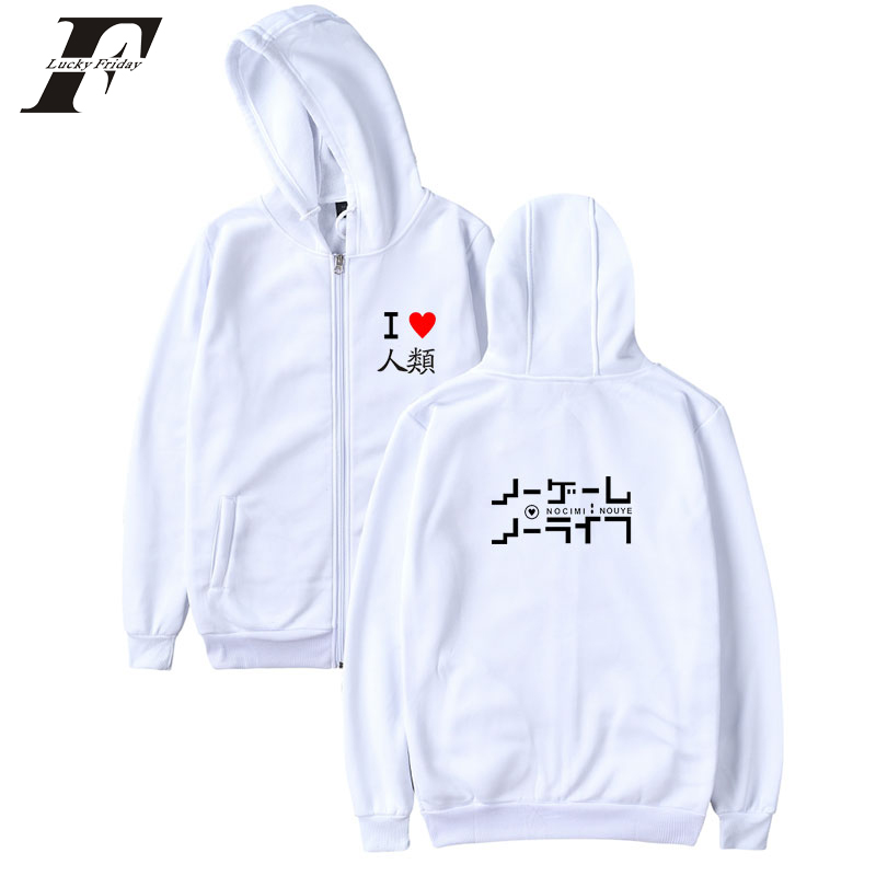 LUCKYFRIDAYF 2018 NO GAME NO LIFE mens designer hoodies winter hoodies women hoodies baseball plus size womens hoodies