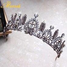New Baroque Bronze Plated Tiara Rhinestone Leaf Tiara Vintage Crown Hair Accessories for Women Wedding Party Pageant Headdress