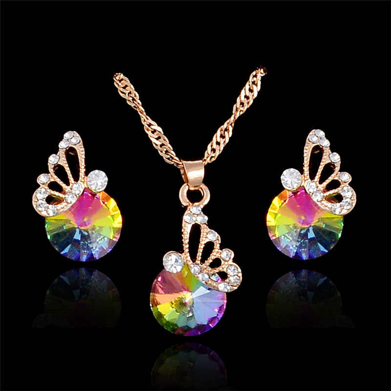 MISANANRYNE Jewelry Sets For Women Colorful Austrian Crystal Butterfly Pendant Necklace Earrings Wedding Jewelry sets