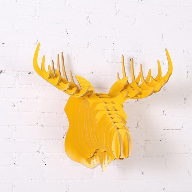 52cm 9 Colors Wood Animal Head Wood Moose Head Furniture For Home ...