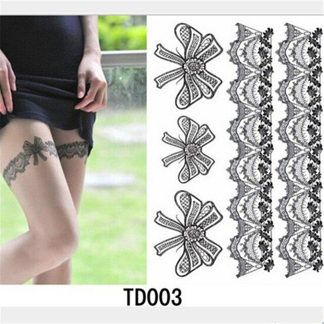 Us 198 Gorąca Sprzedaż Sexy Nogi Pończochy Tatuaż Wodoodporna Fałszywy Tatuaż Naklejki Zbywalne Tatuaże Lace Bow Projekt Naklejki Skóry Z204 W