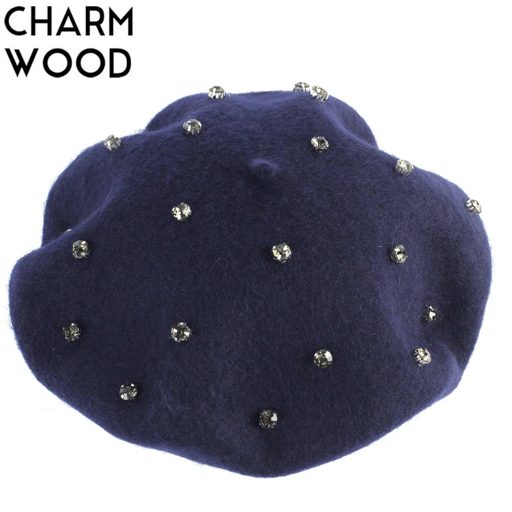 Women's Cashmere Berets Autumn New Wool Knitted Beret for Female Crystal Rhinestone French Artist Beret Warm Soft Fur Hat Bonnet