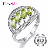 Uloveido 925 Sterling Silver Zircon Wedding Rings For Women Green Engagement Ring With Stone Jewelry Woman