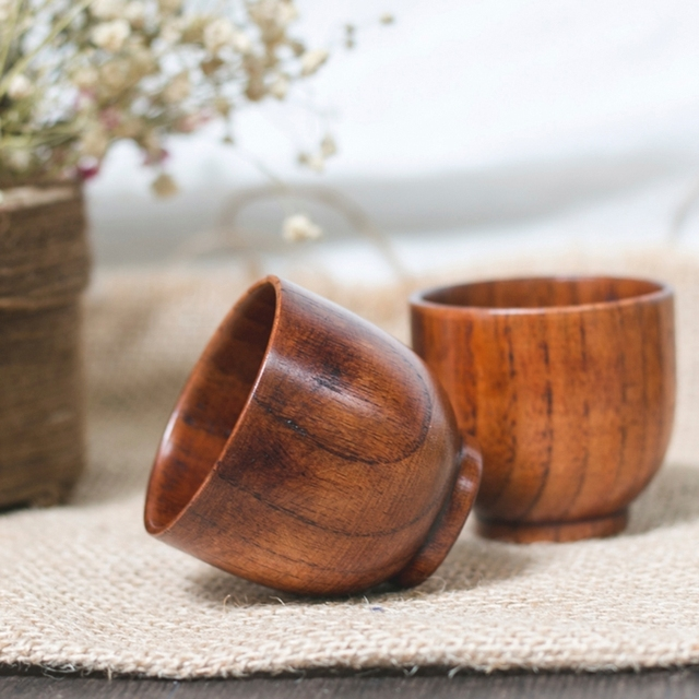 Small Traditional Handmade Natural Solid Wood Wine Cup Wooden