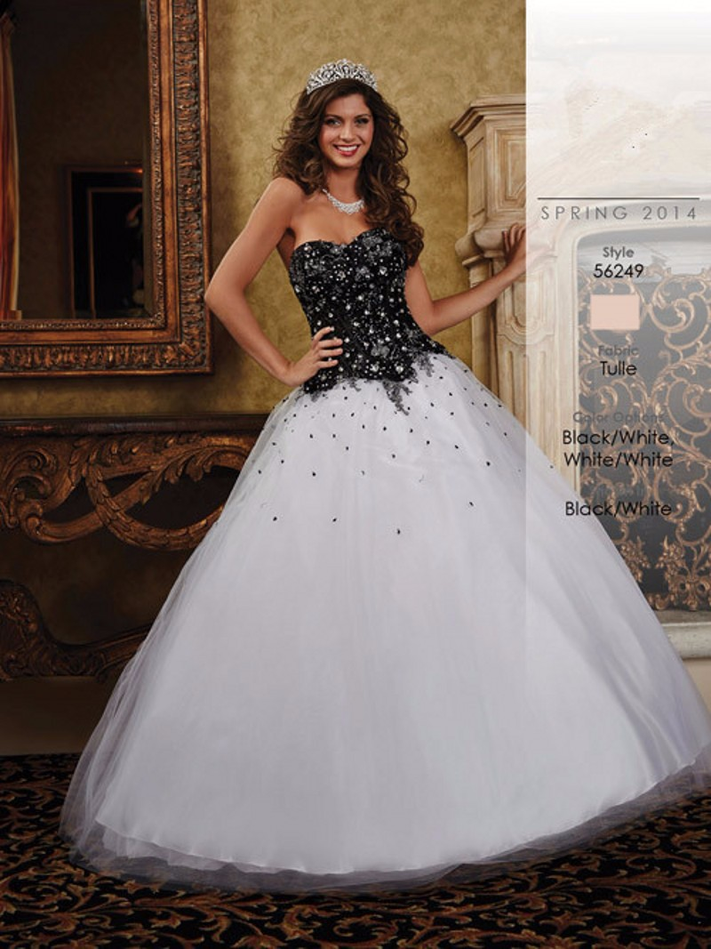 Black and White Quinceanera Dresses 2016 Classic Girl Debut Ball ...