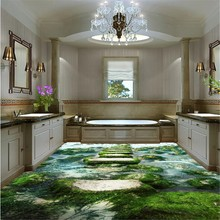 3D Floor Mural Wallpaper Waterfall, Rocks and wild Nature