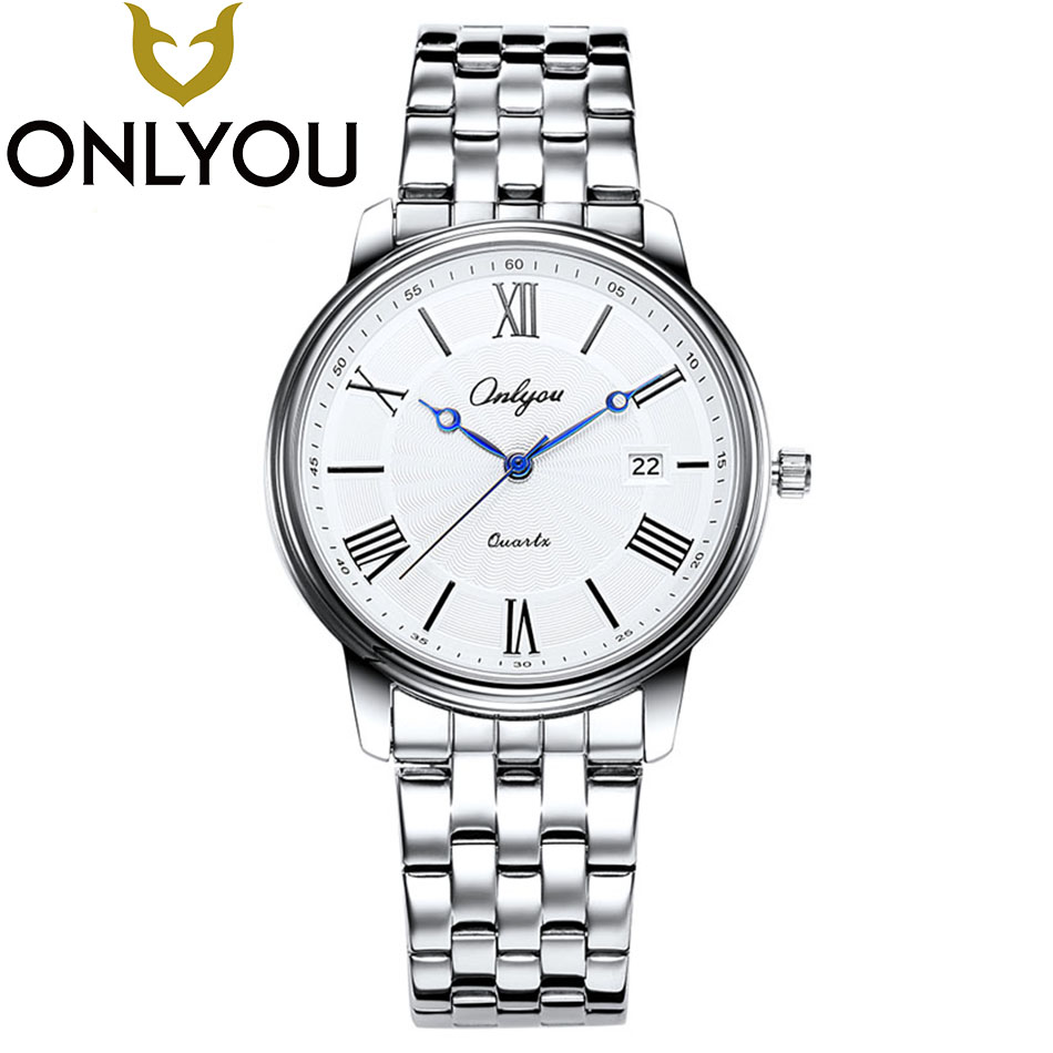 ONLYOU Top Fashion Brand Women Men Watches 2017Waterproof Steel Strip Famous Sport Quartz Hot Sale Wristwatch For Male Wholesale
