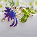Collares Violetta Purple Green Enamel Brooches Two Birds Hijab Accessories Fashion Women Brooch Pin Children Jewelry Broches Pin