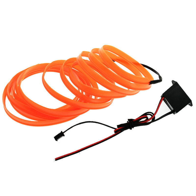 12V billjus 6mm Sömnad Edge Flexibel EL Wire Neon Light Dance Party Bilredskap Light Rope Tub LED Strip med DC12V Drive