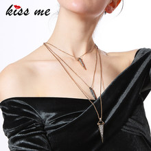 KISS ME Brand Layered Necklace Environment Alloy Rhinestone Rivets Necklaces & Pendants Women Retro Jewelry(China)