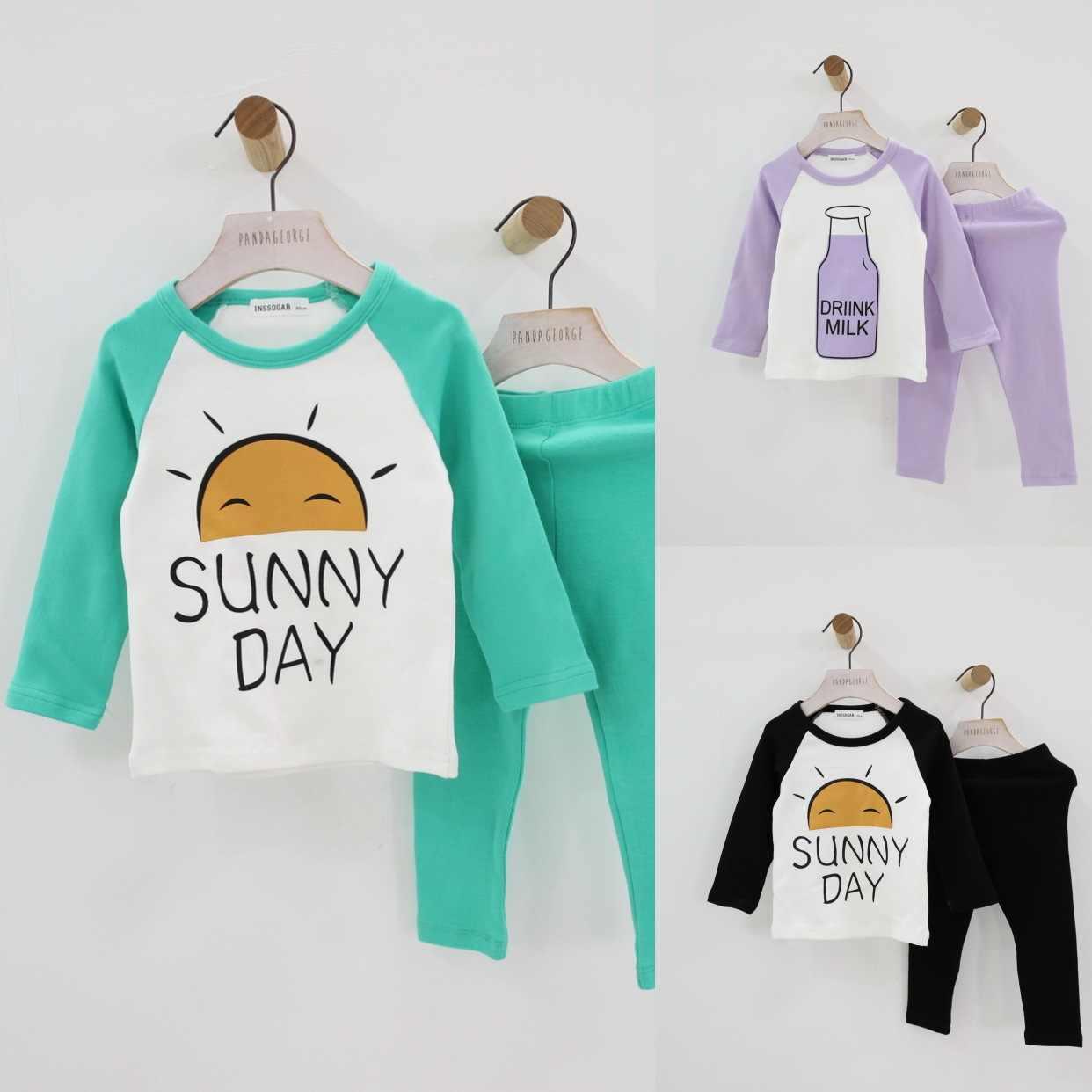 誕生日 tシャツ少年少女服セット秋のパジャマセット女性赤ちゃんツーピースパジャマ子供の生成の服