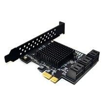 Conversor marvell 88se9215 com 6 portas, adaptador sata 3.0 para pcie, placa de expansão pci express sata 3 pia para hdd