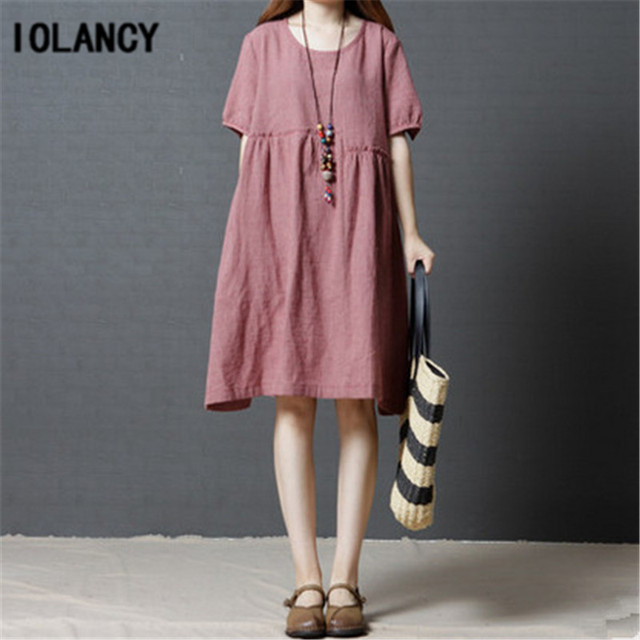 61a2073fe06 Maternity Clothes Dress Big Loose Summer Wear New Style Pregnancy Plaid O-neck  Dresses for