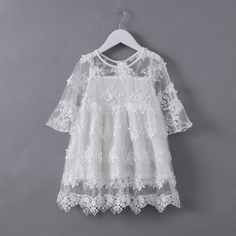 New Sweety Hollow Girls Lace Dress 2017 Summer Baby Girl Dresses Princess Costumes Infant Pink And