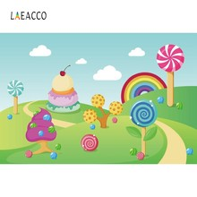 Laeacco Sky Clouds Rainbow Lollipop Cake Candyland Photography Backgrounds Customized Photographic Backdrops For Photo Studio(China)