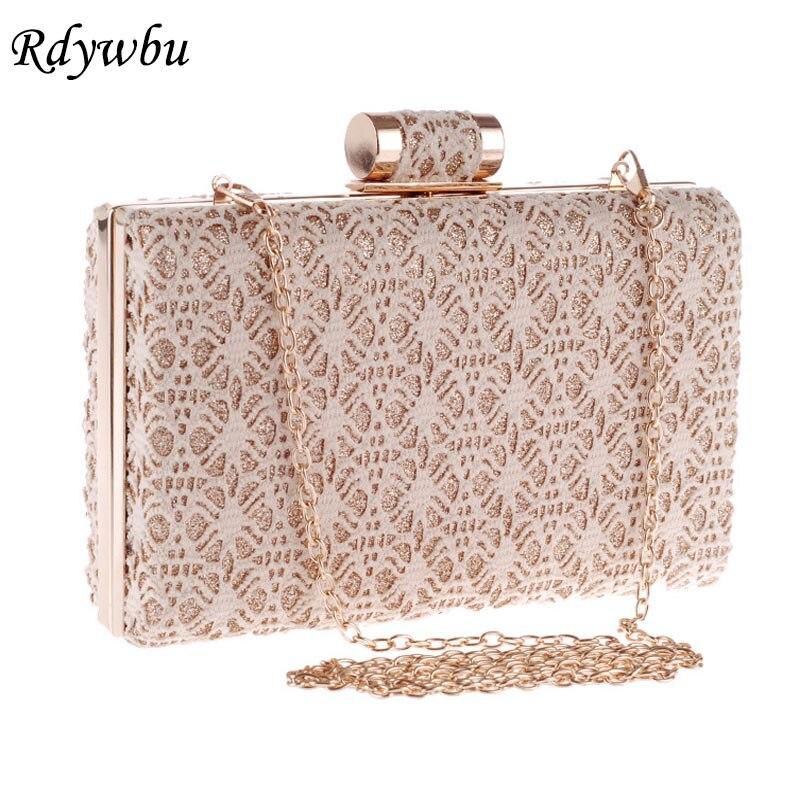 все цены на Rdywbu LACE HOLLOW OUT CHAIN EVENING BAG-Women's Fashion Bride Day Clutch Party Wedding Shoulder Handbag Purse Bolsa B640077