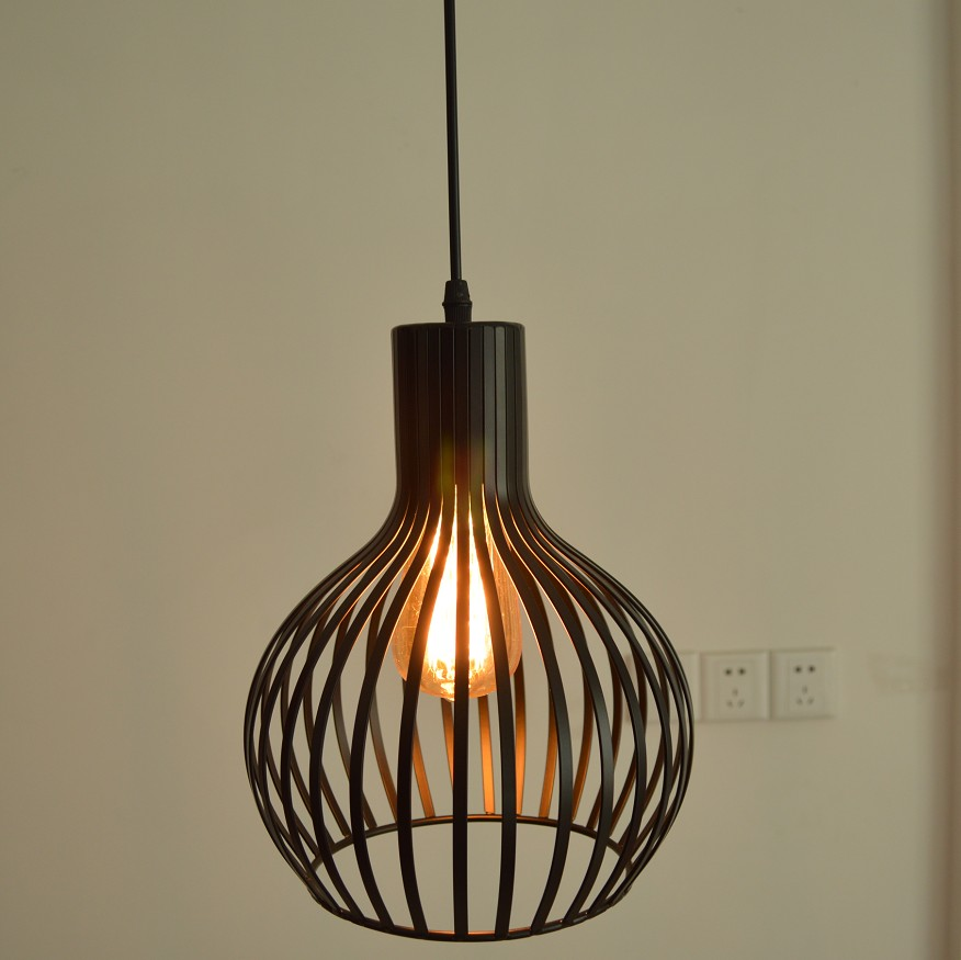 Black white color wrought iron lamp birdcage pendant light for Suspension luminaire cage