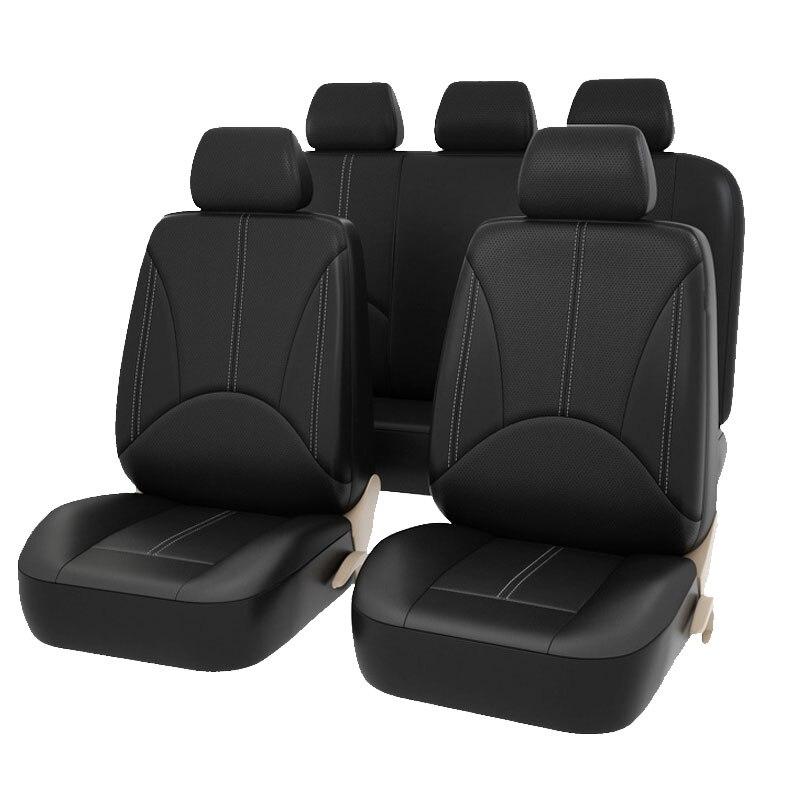 Новый Дизайн Роскошный Кожаный PU Авто Универсальный чехол на сиденья автомобиля Черные чехлы на автомобильные сиденья для машины рено лога...