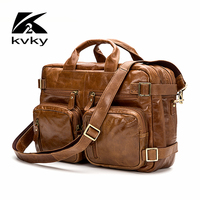 ICeinnight Multifunction Genuine Leather Men Messenger Bag Fashion Shoulder Bags For Business High Quality 17 Inch