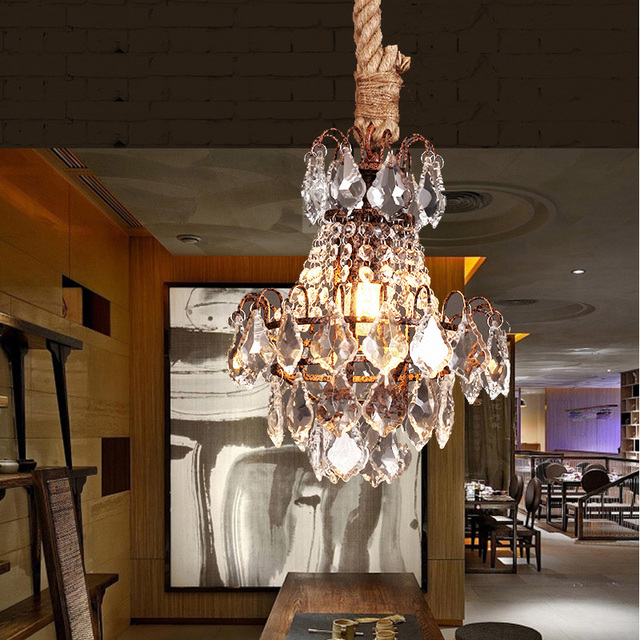 Bar antique rustic lustres de cristal pendant lights rope iron crystal hanging lamp Fashion American Industrial Loft cafe Light