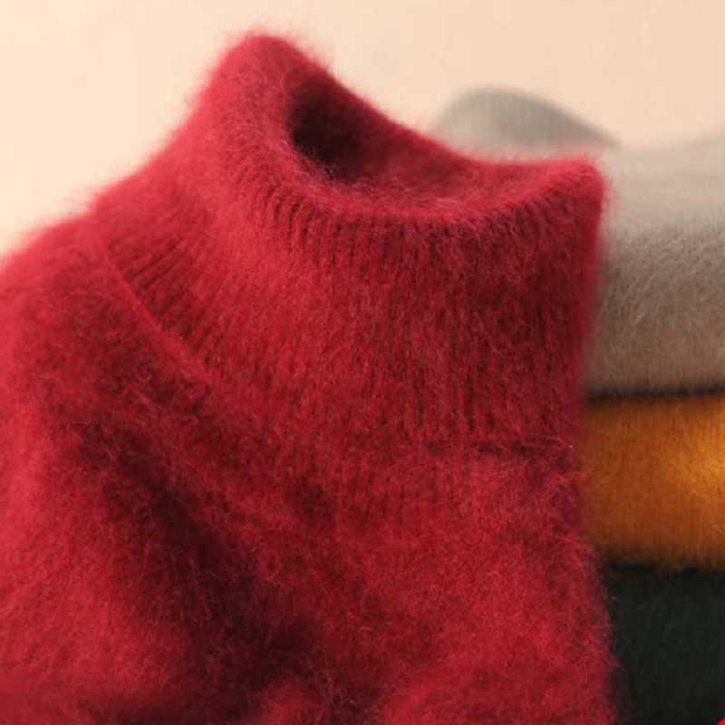 2018 Marten Velvet Mink Sweater Turtleneck Short Slim Design Basic Knitted Thermal Women's Cashmere Sweater